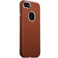 Чехол i-Carer Transformer Real Leather Woven Pattern Back Cove для iPhone 7/ 8 Коричневый