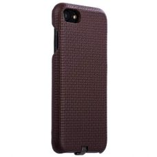 Чехол i-Carer Woven Pattern Series Real Leather Charging Connector для iPhone 7/ 8 Темно коричневый