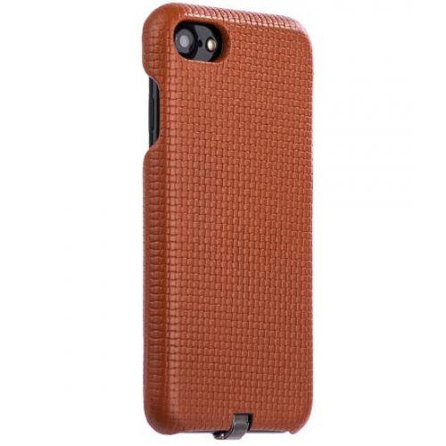 Чехол i-Carer Woven Pattern Series Real Leather Charging Connector для iPhone 7/ 8 Коричневый