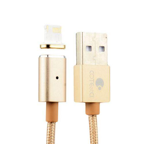 USB дата-кабель COTEetCI с индикатором NYLON Lightning+Magnet System для Apple (1.2 м) Золотистый