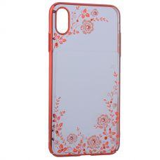 Чехол KINGXBAR для iPhone XS Max со стразами Swarovski (розовые цветы)