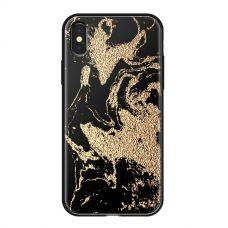 Чехол закаленное стекло Deppa Glass для iPhone XS Max Золотистый