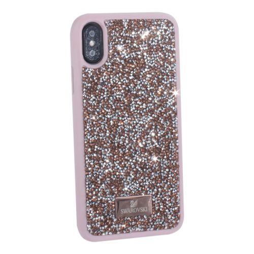 Чехол-накладка силиконовая со стразами SWAROVSKI Crystalline для iPhone XS/ X Светло-розовый