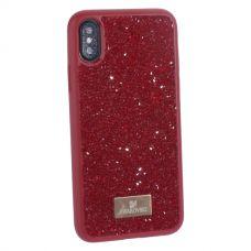 Чехол-накладка силиконовая со стразами SWAROVSKI Crystalline для iPhone XS/ X Красный