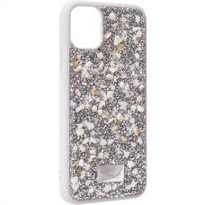 Чехол-накладка силиконовая со стразами SWAROVSKI Crystalline для iPhone 11 Светло-серый №2
