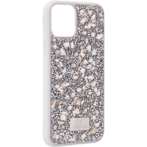 Чехол-накладка силиконовая со стразами SWAROVSKI Crystalline для iPhone 11 Pro Max Светло-серый №2