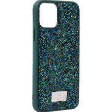 Чехол-накладка силиконовая со стразами SWAROVSKI Crystalline для iPhone 11 Pro Max Темно-зеленый №2