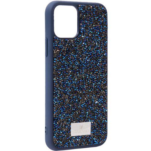Чехол-накладка силиконовая со стразами SWAROVSKI Crystalline для iPhone 11 Pro Max Темно-синий №3