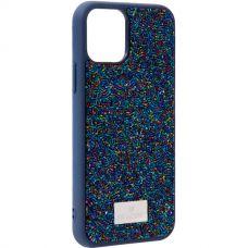 Чехол-накладка силиконовая со стразами SWAROVSKI Crystalline для iPhone 11 Pro Max Темно-синий №5