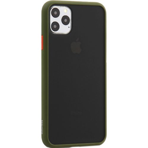 Чехол-накладка пластиковый KeepHone Armor Series для iPhone 11 Pro Max с силиконовыми бортами Болотный