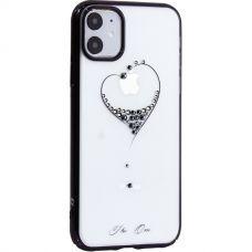 Чехол-накладка KINGXBAR для iPhone 11 пластик со стразами Swarovski черный (The One)
