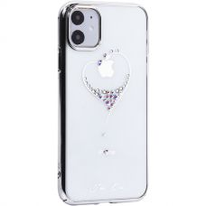Чехол-накладка KINGXBAR для iPhone 11 пластик со стразами Swarovski серебристый (The One)
