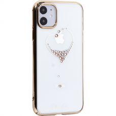 Чехол-накладка KINGXBAR для iPhone 11 пластик со стразами Swarovski золотистый (The One)
