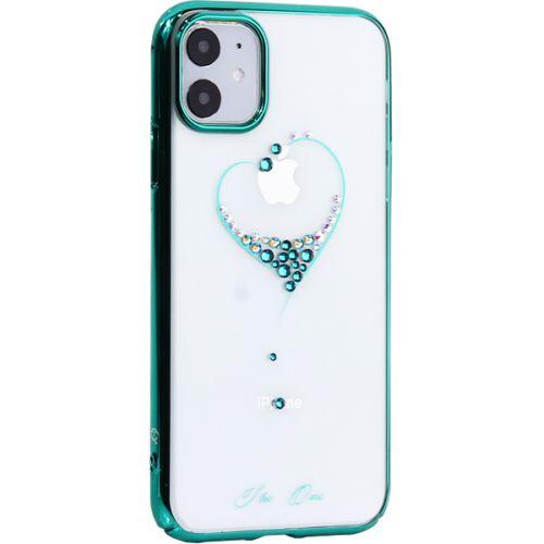 Чехол-накладка KINGXBAR для iPhone 11 пластик со стразами Swarovski зеленый (The One)