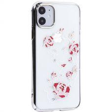 Чехол-накладка KINGXBAR для iPhone 11 пластик со стразами Swarovski Цветочная фея серебристый
