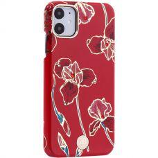 Чехол-накладка KINGXBAR для iPhone 11 пластик со стразами Swarovski (Красные цветы)