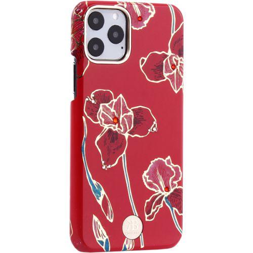 Чехол-накладка KINGXBAR для iPhone 11 Pro пластик со стразами Swarovski (Красные цветы)