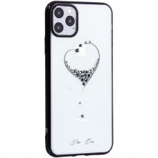 Чехол-накладка KINGXBAR для iPhone 11 Pro Max пластик со стразами Swarovski 49F черный (The One)