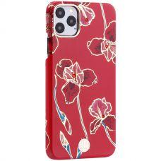 Чехол-накладка KINGXBAR для iPhone 11 Pro Max пластик со стразами Swarovski (Красные цветы)