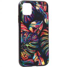 Чехол закаленное стекло Deppa Glass Case для iPhone 11 2.0мм Листья