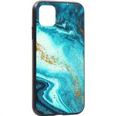Чехол закаленное стекло Deppa Glass Case для iPhone 11 2.0мм Голубой Агат