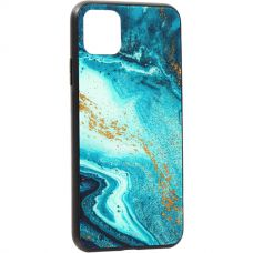 Чехол-накладка закаленное стекло Deppa Glass Case для iPhone 11 Pro Max 2.0мм Голубой Агат