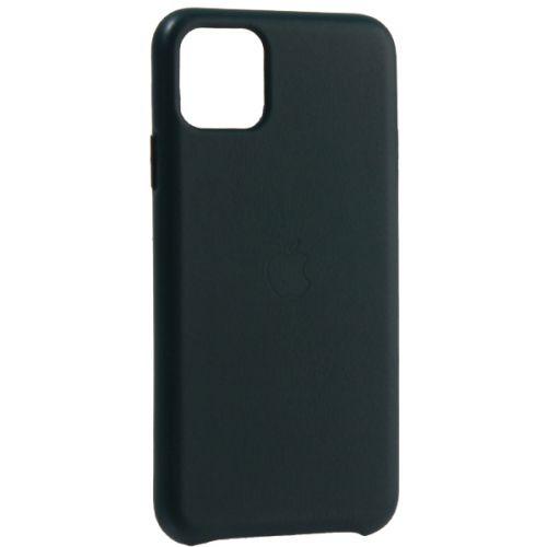 Чехол-накладка кожаная Leather Case для iPhone 11 Pro Max Forest Green Темно-зеленый