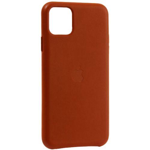 Чехол-накладка кожаная Leather Case для iPhone 11 Pro Max Saddle Brown Светло-коричневый