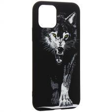 Чехол-накладка силикон Luxo для iPhone 11 Pro 0.8мм с флуоресцентным рисунком Волк Черный