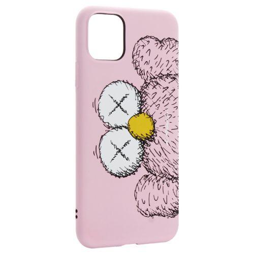 Чехол-накладка силикон Luxo для iPhone 11 Pro Max 0.8мм с флуоресцентным рисунком KAWS Розовый