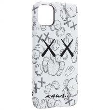 Чехол-накладка силикон Luxo для iPhone 11 Pro Max 0.8мм с флуоресцентным рисунком KAWS Белый