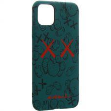 Чехол-накладка силикон Luxo для iPhone 11 Pro Max 0.8мм с флуоресцентным рисунком KAWS Зеленый
