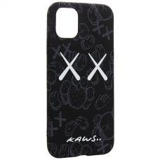 Чехол-накладка силикон Luxo для iPhone 11 0.8мм с флуоресцентным рисунком KAWS Черный