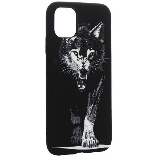 Чехол-накладка силикон Luxo для iPhone 11 0.8мм с флуоресцентным рисунком Волк Черный