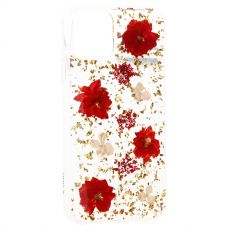 Чехол-накладка силиконовая K-Doo Flowers TPU+Dried Flowers+Lucite для Iphone 11 Pro Красная