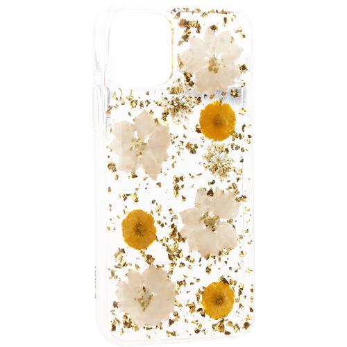 Чехол-накладка силиконовая K-Doo Flowers TPU+Dried Flowers+Lucite для Iphone 11 Pro Желтая