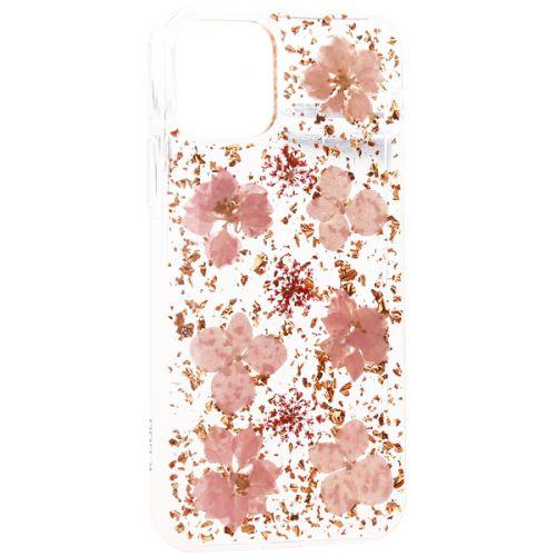 Чехол-накладка силиконовая K-Doo Flowers TPU+Dried Flowers+Lucite для Iphone 11 Pro Розовая