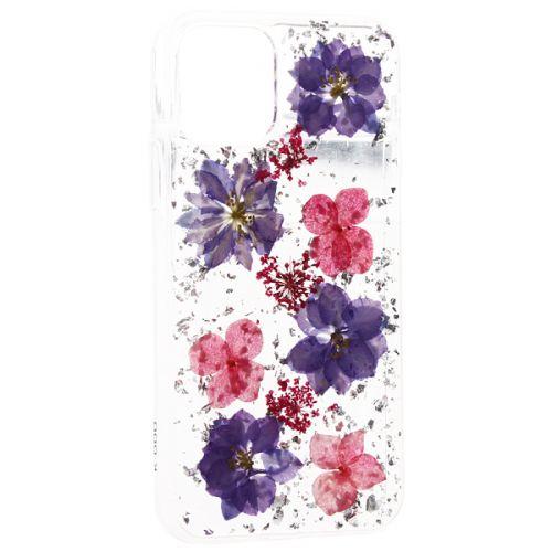 Чехол-накладка силиконовая K-Doo Flowers TPU+Dried Flowers+Lucite для Iphone 11 Pro Сиреневая