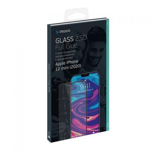 """Стекло защитное Deppa 2,5D Full Glue D-62700 для iPhone 12 mini (5.4"""") 0.3mm Black"""