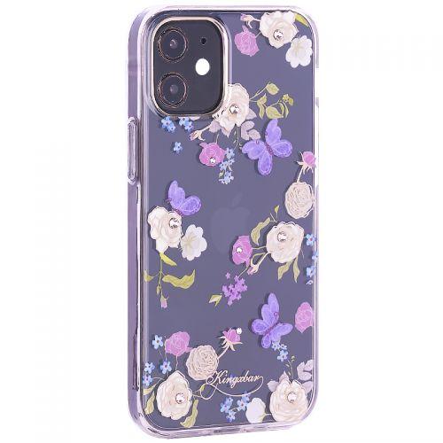 """Чехол-накладка KINGXBAR для iPhone 12/ 12 Pro (6.1"""") пластик со стразами Swarovski прозрачная с силиконовыми бортами (Цветы 4)"""