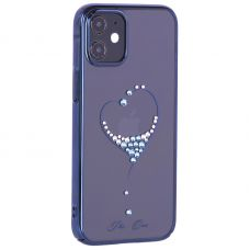"""Чехол-накладка KINGXBAR для iPhone 12 mini (5.4"""") пластик со стразами Swarovski синий (The One)"""