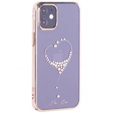 """Чехол-накладка KINGXBAR для iPhone 12 mini (5.4"""") пластик со стразами Swarovski золотой (The One)"""