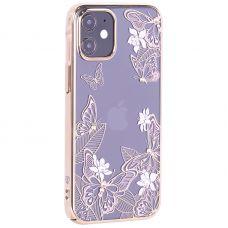 """Чехол-накладка KINGXBAR для iPhone 12 mini (5.4"""") пластик со стразами Swarovski золотой (Бабочки)"""