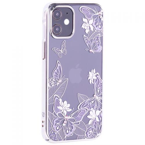 """Чехол-накладка KINGXBAR для iPhone 12 mini (5.4"""") пластик со стразами Swarovski серебристый (Бабочки)"""