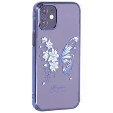 """Чехол-накладка KINGXBAR для iPhone 12 mini (5.4"""") пластик со стразами Swarovski синий (Бабочка)"""