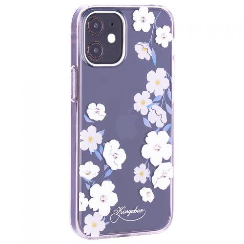 """Чехол-накладка KINGXBAR для iPhone 12 mini (5.4"""") пластик со стразами Swarovski прозрачная с силиконовыми бортами (Цветы 1)"""