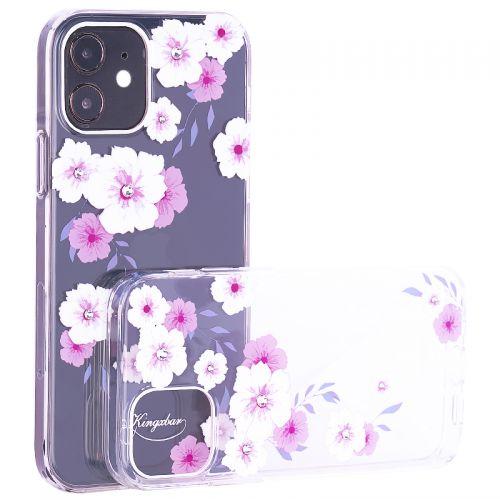 """Чехол-накладка KINGXBAR для iPhone 12 mini (5.4"""") пластик со стразами Swarovski прозрачная с силиконовыми бортами (Цветы 2)"""