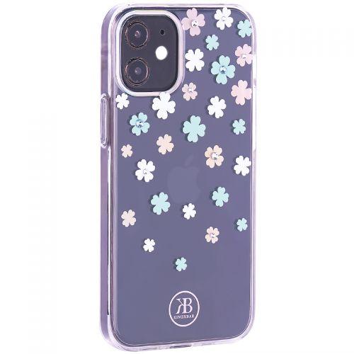 """Чехол-накладка KINGXBAR для iPhone 12 mini (5.4"""") пластик со стразами Swarovski прозрачная с силиконовыми бортами (Цветы 3)"""