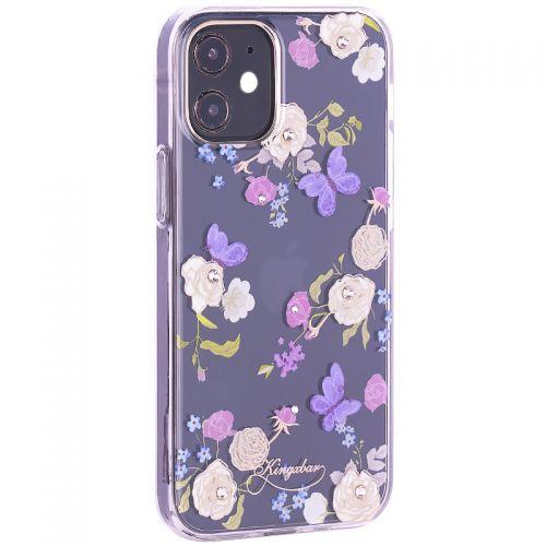 """Чехол-накладка KINGXBAR для iPhone 12 mini (5.4"""") пластик со стразами Swarovski прозрачная с силиконовыми бортами (Цветы 4)"""