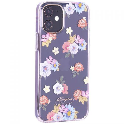 """Чехол-накладка KINGXBAR для iPhone 12 mini (5.4"""") пластик со стразами Swarovski прозрачная с силиконовыми бортами (Цветы 5)"""